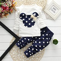 "Toddler Girls Polka Dot ""Mickey Mouse"" 2 Pc Outfit"