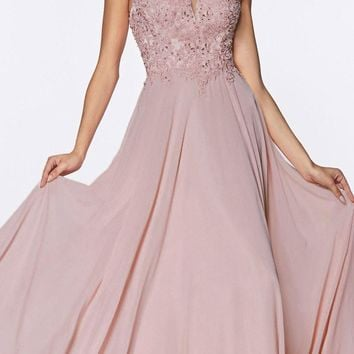 Long A-Line Chiffon Gown Mauve V-Neckline Jeweled Lace Bodice