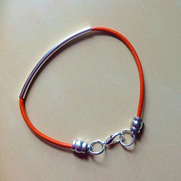 Orange Leather Awareness Tube Bracelet-Noodle Curved-Friendship-Multiple sclerosis-Leukemia