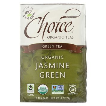Choice Organic Teas Jasmine Green Tea - 16 Tea Bags - Pack of 6