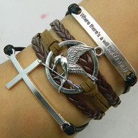 "Bracelet -"" where there's a will there's a way ""  bracelet,The cross and the hunger game Parrot Bird bracelet, the best Christmas gift"
