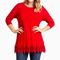 Red-Crochet-Hem-3/4-Sleeve-Plus-Size-Top