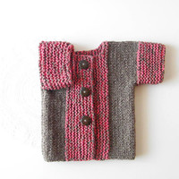 Little Girl Cardigan / Toddler Knit Sweater / Short Sleeve Buttoned Shrug In Brown And Fuchsia / Fall Kids Clothing / Ready To Ship