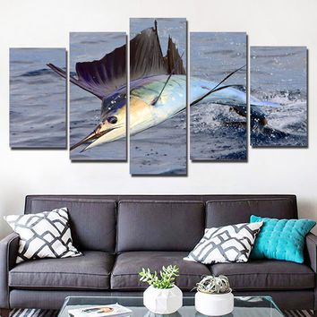 Jumping Swordfish Ocean Sea Wall Art on Canvas Panel Print Framed UNframed