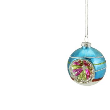 """Blue Green and Red Glittered Witches Eye Glass Ball Ornament 2.75"""" (70mm)"""