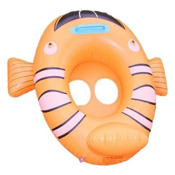 Inflatable Cartoon Children Water Taxis Toy Swim Ring with Handle    clownfish