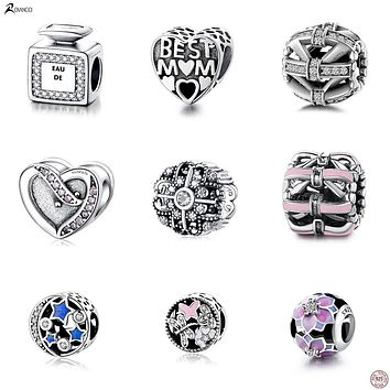 Authentic 925 Sterling Silver Bead Butterfly Crystal Beads Fit Original Women Pandora Charms Bracelet & Bangle DIY Jewelry