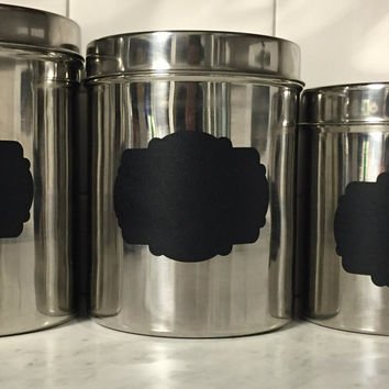 3 Pc Kitchen Canister Set, Kitchen Canisters, Stainless Steel Kitchen  Canister, Chalkboard Label