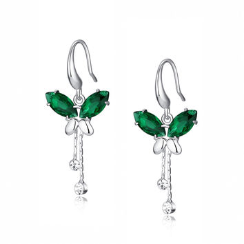 Cubic Zirconia Butterfly Breeze Earrings (Green)