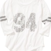 Girls Sequin-Graphic Varsity-Style Tees