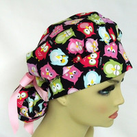 Bouffant Women's Surgical Scrub Hat or Cap Sleepy Owls
