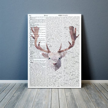 Animal poster White Deer art Modern decor Colorful print TOA74-1