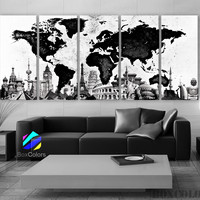 "XLARGE 30""x70"" 5Panels Art Canvas Print World Map Watercolor B & W Home Office decor (framed 1.5"" depth)"