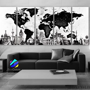 "XLARGE 30""x 70"" 5 Panels 30""x14"" Ea Art Canvas Print World Map Original Watercolor texture Old Black & White Wall Home Office decor (framed 1.5"" depth)"