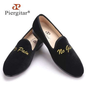 arrival men velvet shoes with new personality embroidery loafers
