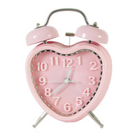 Sweet Pink Heart Vintage-Inspired Table Top Alarm Clock with Double Bells Plastic