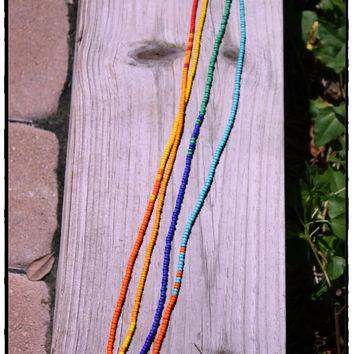 Multi Colored Beaded Long Necklace or Bracelet, Boho Hippie Layering Necklace, Tassel Fun