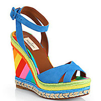 Valentino - 1973 Striped Suede & Canvas Espadrille Wedge Sandals - Saks Fifth Avenue Mobile