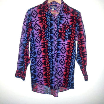 Vintage WRANGLER Shirt Long Sleeve Button Up Southwest Aztec Navajo South Western Tribal Boho Color Blue Red Purple Black Mens Size Large