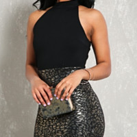 Leopard Metallic Print Party Dress