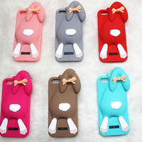 3D Bowknot Lovely Rabblit Soft Silicone Back Cover for iPhone 5 5S 6 6 Plus Case