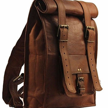 Urban Dezire Men's Leather Vintage Roll On Laptop Backpack Rucksack One Size Brown