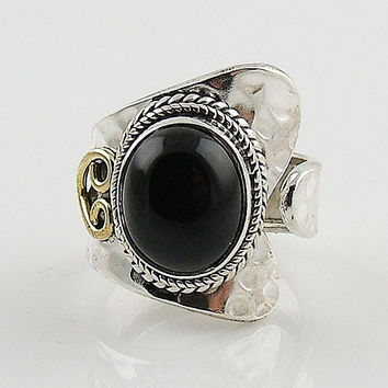 Black Onyx Two Tone Spiral Sterling Silver Adjustable Ring