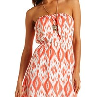 Bar-Back Printed Tube Dress: Charlotte Russe