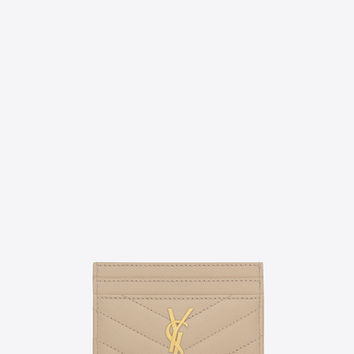 monogram credit card case in powder textured matelassé leather