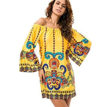 PEAPGB2 Bohemian Print Dresses Vestidos De Festa Robe Off Shoulder Clothing 2016 Summer Womens Dress Brand Sexy Elegant Evening Party