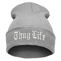 THUG LIFE Letter Embroidered Unisex Beanie Fashion 2pac Hip Hop Mens & Womens Knitted Light Gray & White Tupac Cuffed Skully Hat