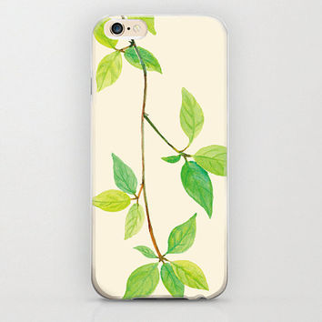 Leaf iPhone 6 Case Trees Leaves and Vines Nature Lover Adorable Green and Beige iPhone 6 Case Unique Apple iPhone Covers Cell Phone Flora