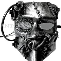 New Steampunk Style Black Silver Bauta Robot Unisex Masquerade Mask Prom Party