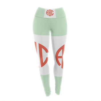 "Kess Original ""Classic Monogram Green "" Green Monogram Yoga Leggings"