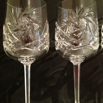 Vintage Mid Century Bohemian Etched 24%  Lead Crystal Glasses Like New