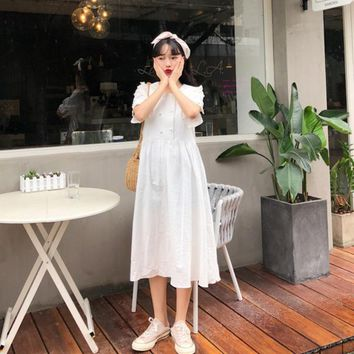 2018 Summer Sweet Short Sleeve Wild Pure Color Dresses Loose Thin High Waist Kawaii Women Dresses
