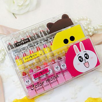 10 Pcs/Lot Sample Size Cute Lipstick Yellow Duck Brown Bear Pink Rabbit Lipstick Lipgloss Waterproof Easy to Wear Matte Lipstick