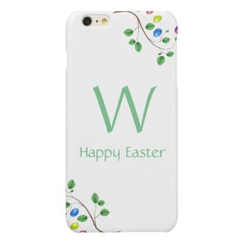 Happy Easter Custom Monogram Colorful Easter Eggs Glossy iPhone 6 Plus Case