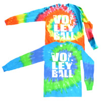 Volleyball Long Sleeve Tie Dye T-Shirt Stacked Logo