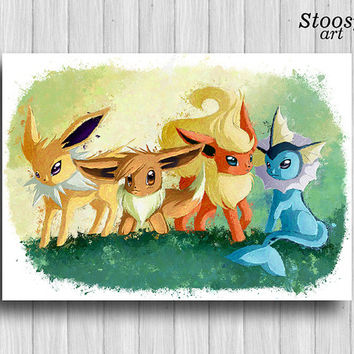 Eevee evolution poster Jolteon Flareon Vaporeon pokemon decor