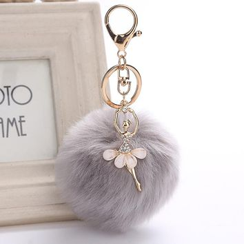 ZOEBER Gold Key Chain Pom Pom Key Rings Fake Rabbit Fur Ball KeyChain Pompom Angel Girl Fourrure Pompon Women Bag Charms Jewelry