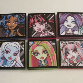 Monster High Set #2 Note Pads Set of 6 - Excellent Party Favors - Monster High Pinata Stuffer Monster High Stocking Stuffers