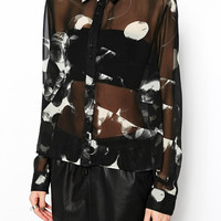 Black Moon Print Asymmetrical Long-Sleeve Collared Blouse