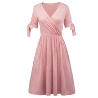 Short Sleeve Cocktail Dresses Pink V Neck Prom Gown Knee Length Formal Party Short Cocktail Dress