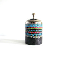 Jar: Painted jar with metal lid Cotton Swab Jar Colorful jar Small jar apothecary jar