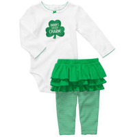 St. Patrick's Day 2-Piece Bodysuit Leggings Set