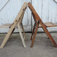 Vintage Wooden Slat Chairs Pair of Rustic Folding Wooden Childs Chairs