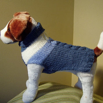 Dog Sweater Hand Knit Best Dressed Cable Medium Merino by jenya2