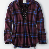 AEO Lace-Up Flannel Pullover Shirt, Raisin Wine