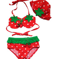 Opentip.com: TopTie Toddler Girls' Swimsuit, Cute Strawberry Bikini, TWO-Piece Swimwear